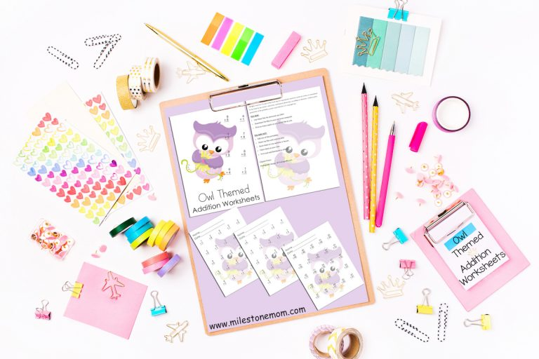 Owl themed addition worksheets