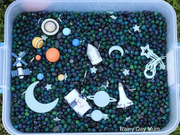space activities for kids sensory bin