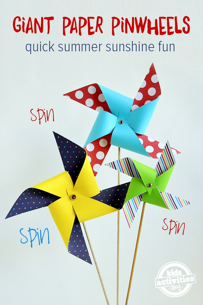 giant paper pinwheels spring crafts for toddlers