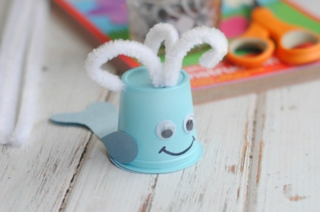 cup whale craft ocean activities for kids