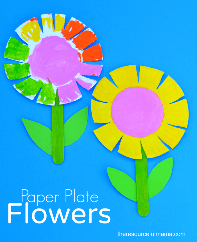 paper plate flower  spring crafts for toddlers