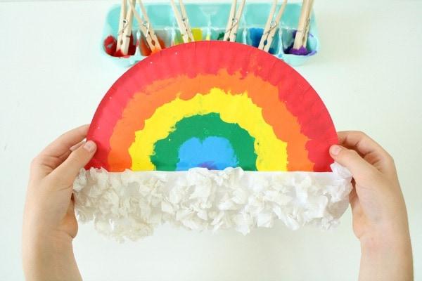 pom pom painted rainbow