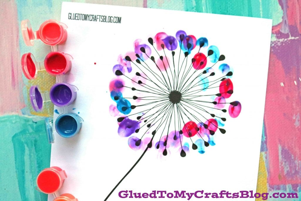 thumbprint dandelion spring crafts for toddlers