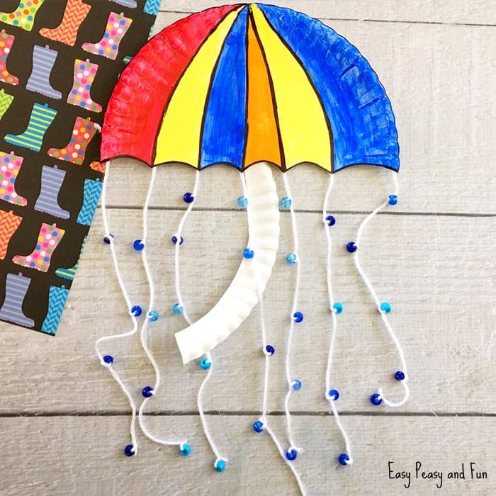umbrella paper plate weather activities for kids