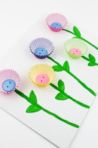 Muffin Cup Flower Craft For Kids