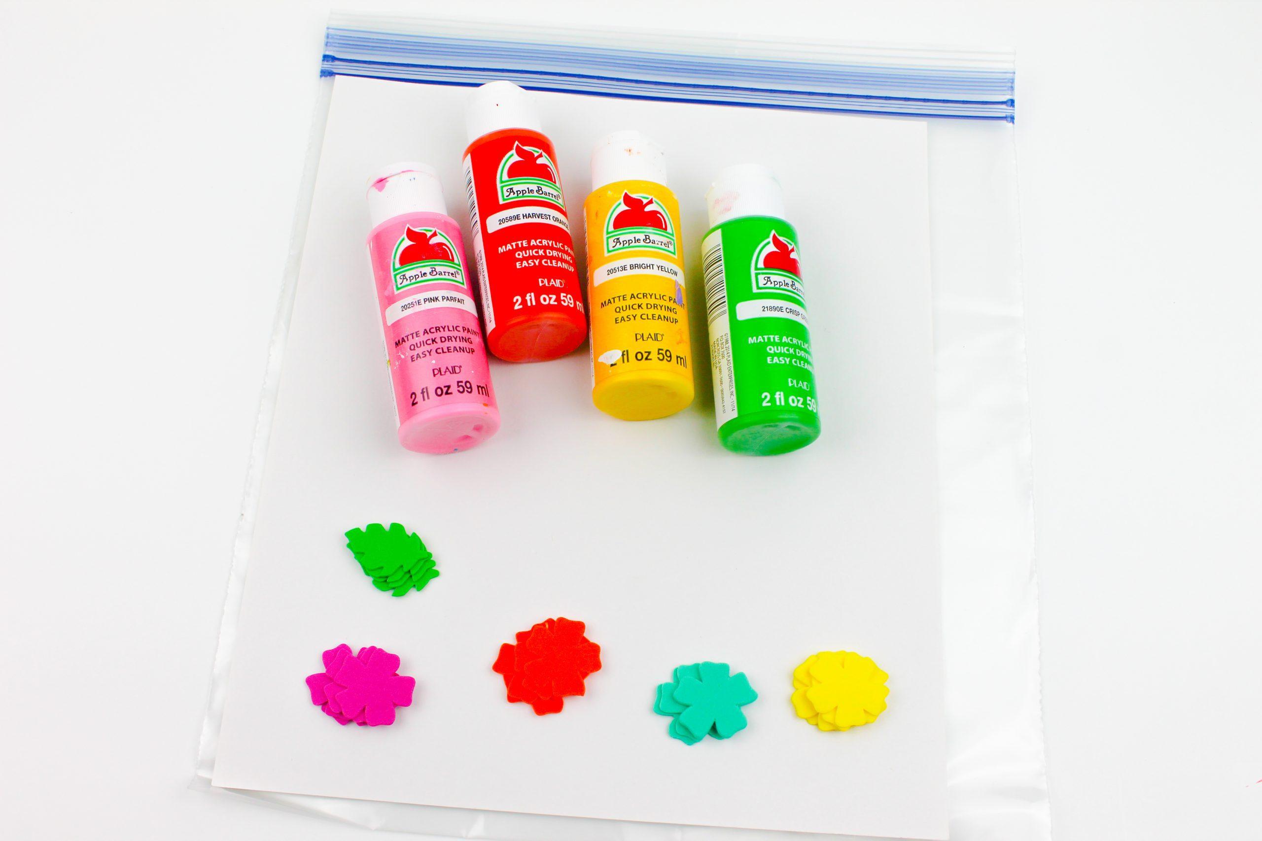 Foam Flowers Paint Squish Bag Supplies